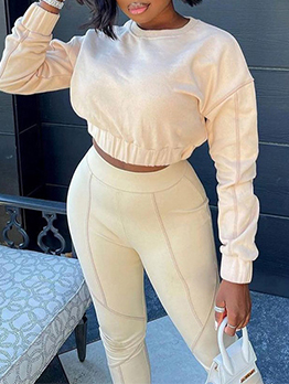 Casual Sport Long Sleeve Two Pieces Outfits