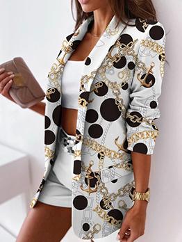 Formal Chain Printed Long Sleeve Blazers