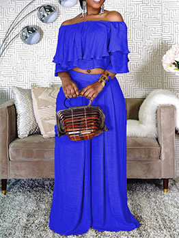 Boat Neck Ruffle Two Piece Plus Size Sets