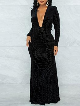 Elegant Black Deep V Neck Maxi Dress