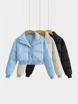 Chic Winter Solid Zipper Short Coat For Women