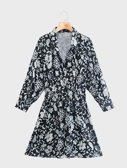 Outdoor Black Printed Long Sleeve Shirt Dress