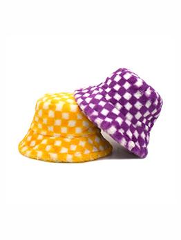 Fashion Plaid Faux Rabbit Fur Warmth Bucket Hat