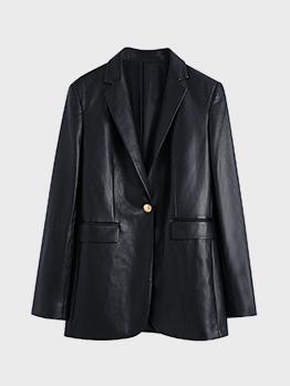 Cool PU Black Blazer Coat For Women