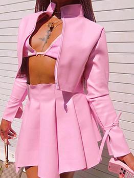 Street Solid Zipper Coat 2 Piece Skirt Sets