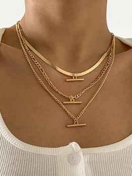 Versatile Solid T Shape 3 Piece Necklace Set