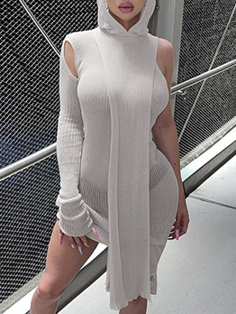 Fashion Perspective One Shoulder Hooded Dress