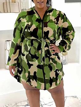 Fashion Camouflage Zipper Up Long Sleeve Long Coat