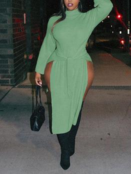 Irregular Slit High Neck Solid Plus Size Dresses