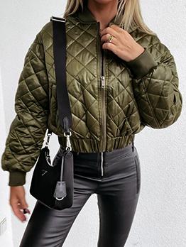 Casual Solid Lattice Zip-Up Long Sleeve Jacket