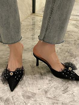 Korean Style Pointed Toe Slip On Heeled Slippers