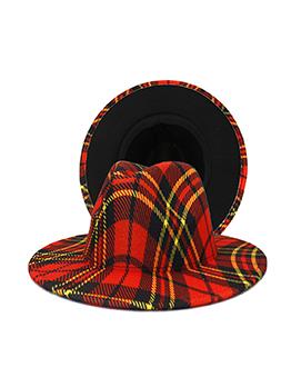 British Style Plaid Wide Brim Hat Fedora Hat