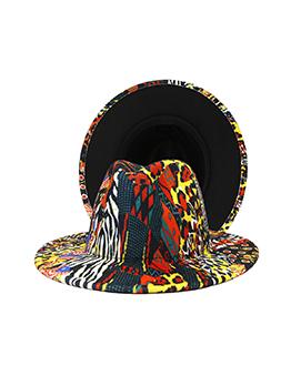 Trendy Colorful Printed Flat Eaves Fedora Hat