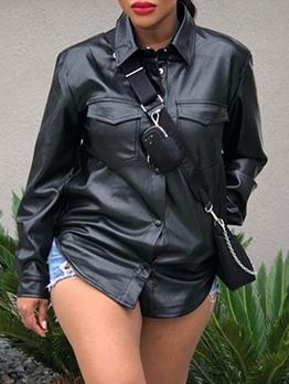 Cool Faux Leather  Black Blouse Coat For Women