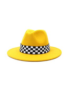 New Checkerboard Contrast Color Big Brim Fedora Hat