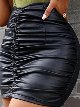 Seductive Plain Black Pleated Pu Skirt