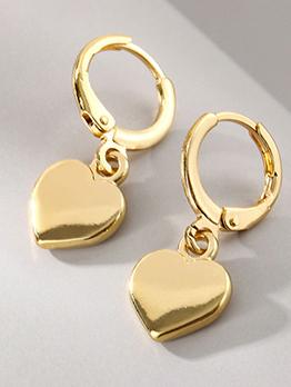 Cute Heart Hollow Out Alloy Golden Earring