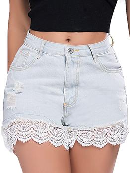 Mid Waist Lace Patchwork Stylish Short Pants