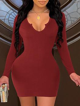Low Cut Solid Long Sleeve Sheath Dress
