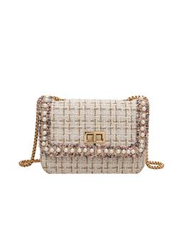 Fashion French Style Faux Pearl Plaid Shoulder Bag