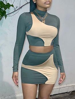 Designer Patchwork Cropped Top 2 Piece Skirt Sets