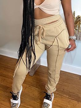 Casual Solid Plush Drawstring Long Pants