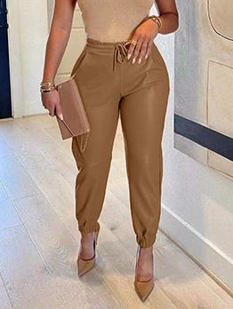 Versatile Solid Fashion Drawstring Pu Long Pants