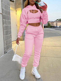 Sporty Solid Hooded Collar 3 Piece Pant Sets