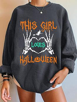 Halloween Street Letter Contrast Color Oversized Sweatshirt