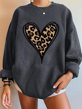 New Leopard Heart Plush Long Sleeve Sweatshirt