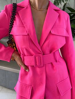Street Rose Red Long Sleeve Blazer For Women
