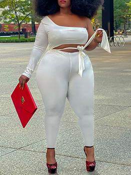 Sexy One Shoulder Black Patchwork Skinny Jumpsuit
