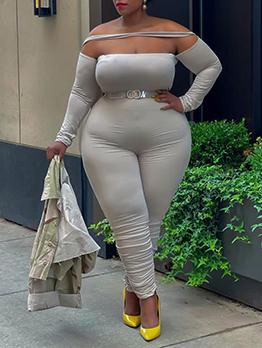 Plus Size Solid Off The Shoulder Skinny Jumpsuit