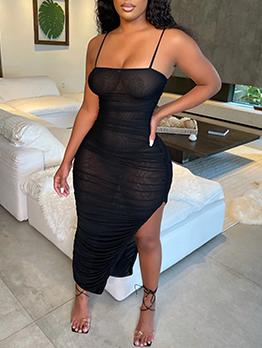 Sexy Gauze Ruched Slit Camisole Maxi Dress
