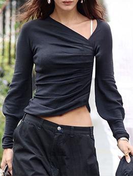 Irregular Solid Long Sleeve T Shirt