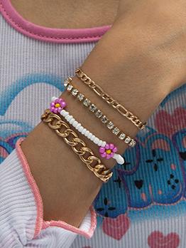 Countryside Flower Chain Four Piece Bracelet Set