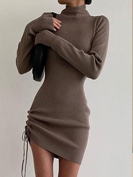 Mock Neck Solid Long Sleeve Sheath Dress