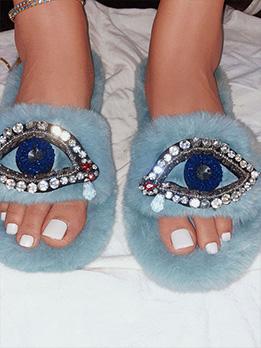 Eyes Shape Design Rhinestone Winter Slippers
