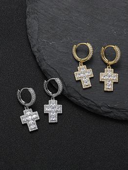 Hip Hop Cross Hollow Out Zircon Rhinestone Earrings