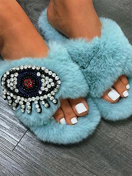 Rhinestone Faux-Fur Fluffy Slipper For Women