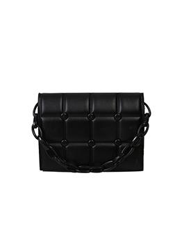 Grid Pure Color Chain Hasp Shoulder Bag