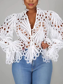 Sexy Hollow Out Solid Color Nightclub Blouse