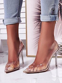 Transparent Fashion Slip On Stiletto Heels