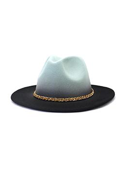 British Style Chain Wide Brim Fedora Hat