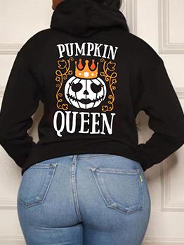 Plus Halloween Printed Loose Black Long Sleeve Women Hoodies
