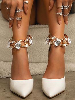 Fashion Rhinestone Chain Stiletto  Zipper Heeled Sandal