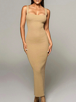 Casual Square Neck Sleeveless Maxi Dress