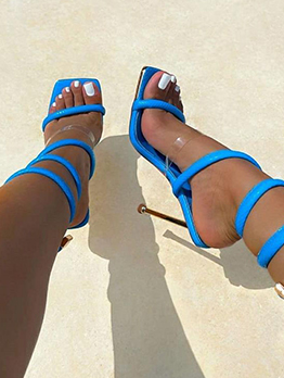 Popular Solid Square Toe Heeled Sandals