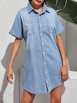 Fashion Single-Breasted Turn-Down Denim Dress