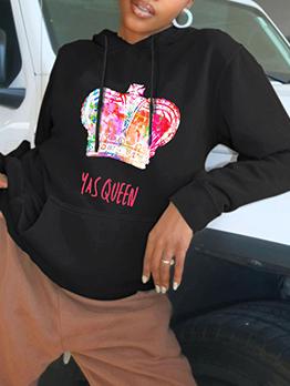 Casual Crown Printed Letter Hooded Essentials Hoodie